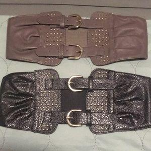 Accessories - Bundle- 2 for 1- Black & Gray Adj. Stretchy Belts